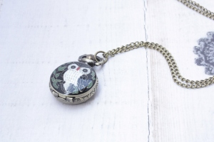 Owl Locket Chain Watch Necklace